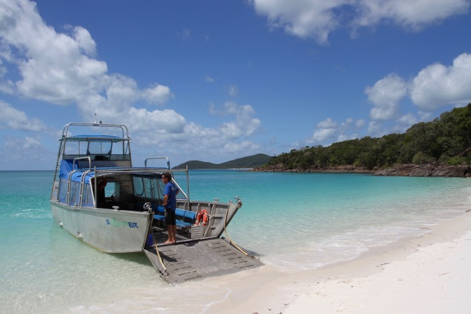 Boat to shore, Whitehaven Beach, Whitsunday Island, Queensland, Australia