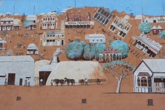 Mural of the gold rush, Charters Towers, Queensland, Australia