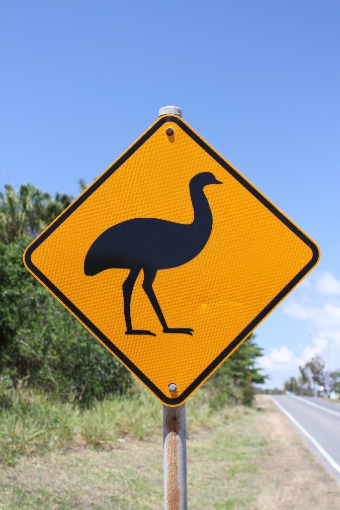 Emu road sign, Queensland, Australia