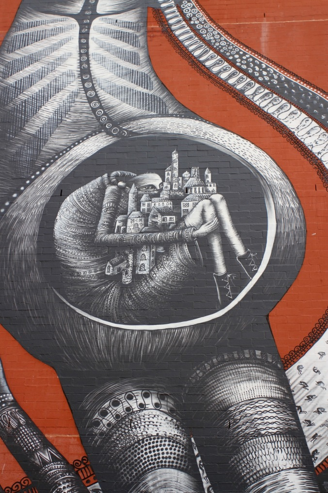 UK artist Phlegm's Creation Myth, Street Art, Perth, Western Australia