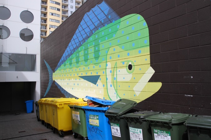 Mahi Mahi or Dolphin Fish by Amok Island, Street Art, Perth, Western Australia