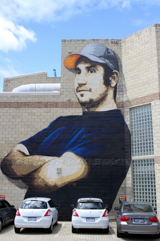 Australian rapper MC Hunter by E.L.K, Street Art, Perth, Western Australia