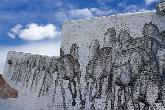 Galloping Horses in a sea of Words, Northbridge Perth, Western Australia