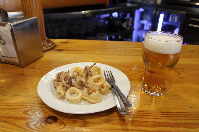 Squid and beer, Granada, Andalusia, Spain