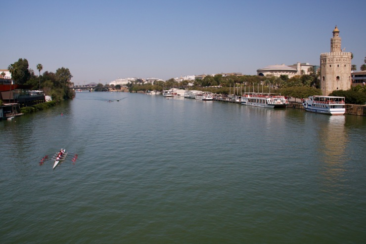 Guadalquivir River and Torre del Oro, Seville, Andalusia, Spain
