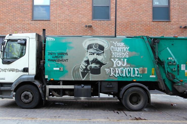Recycling truck, Hoxton, London