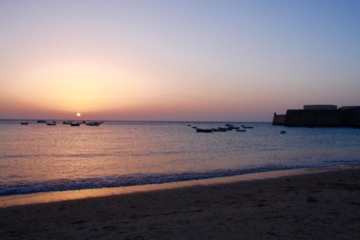 Sunset from La Caleta, Cadiz, Andalusia, Spain