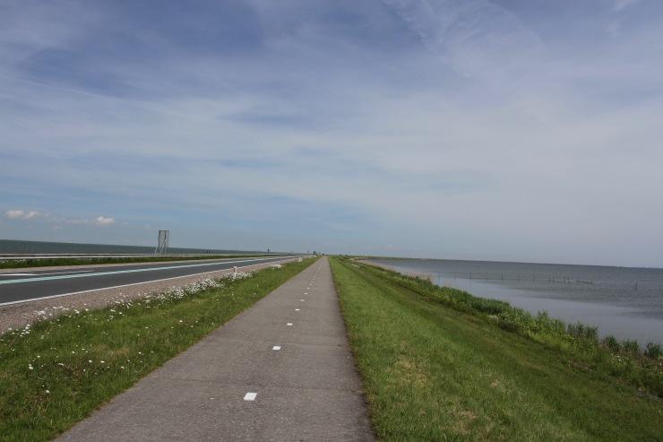 The Houtribdijk between Lelystad and Enkhuizen, Netherlands