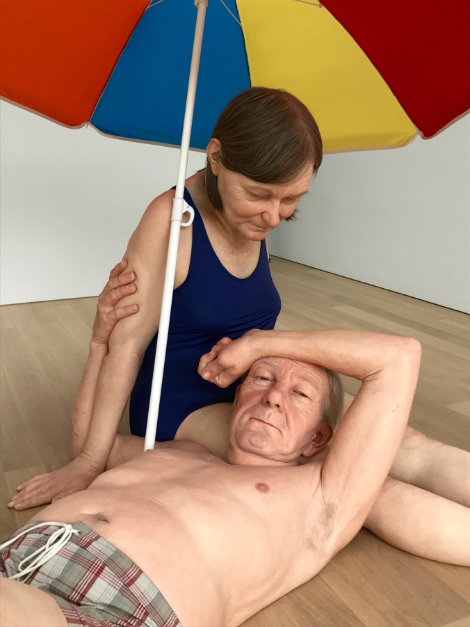 Ron Mueck's Couple under an umbrella, Voorlinden Museum, Netherlands
