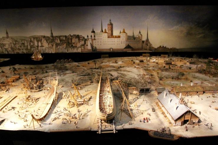Model of the Vasa being built, Vasamuseet, Stockholm, Sweden