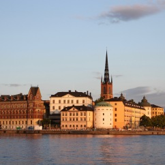 Gamala Stan at sunset from the Stadhus, Stockholm, Sweden