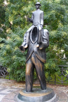Franz Kafka statue, Jewish Quarter, Prague, Czech Republic