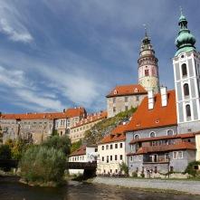 River Vltava and castle, Cesky Krumlov, Czech Republic
