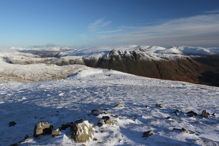 Langdale Pikes and Helvellyn range from Crinkle Crags, Cumbria, England