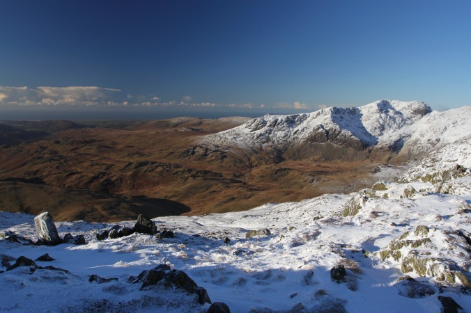Scafell range and Eskdale Valley from the Crinkle Crags, Cumbria, England