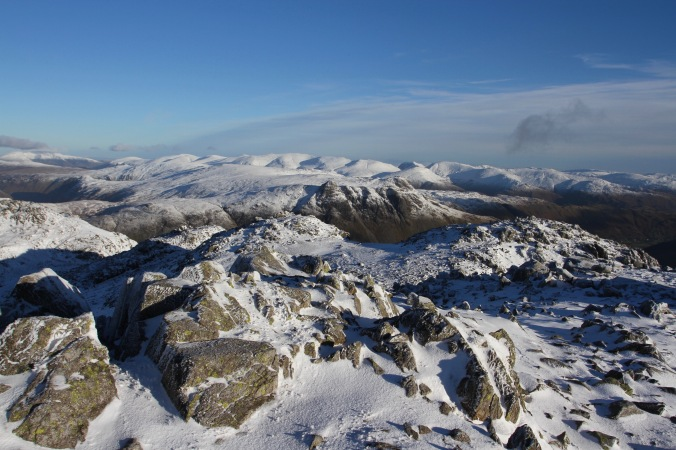 Views to Fairfield and Helvellyn from Crinkle Crags, Cumbria, England