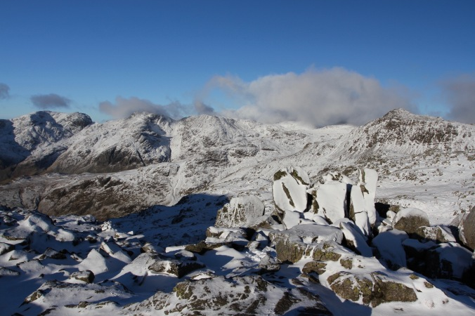 Views to Bow Fell and Scafell Pike from Crinkle Crags, Cumbria, England