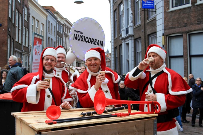 Musical Santas at Dordrecht Xmas Market, Netherlands