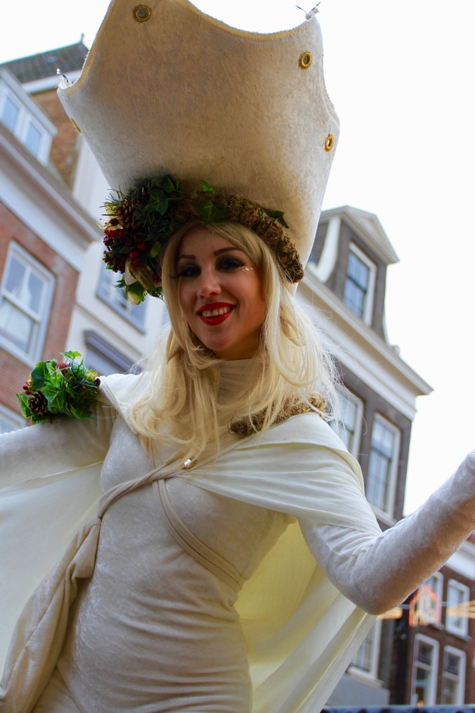 Stilt walker at Dordrecht Xmas Market, Netherlands