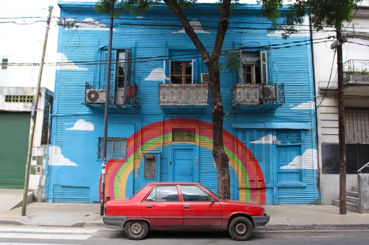Rainbow car, La Boca, Buenos Aires, Argentina