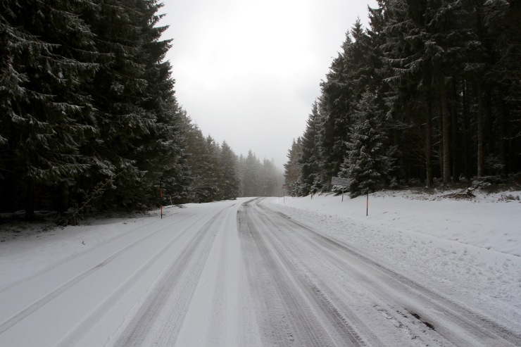 Snow in the Vosges Mountains, Alsace, France