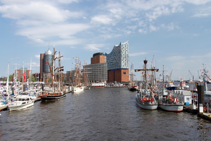 Hamburg harbour and Elbphilharmonie, Speicherstadt, Germany