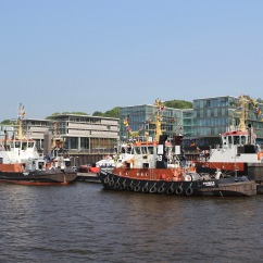 Tugs on the River Elbe, Hamburg, Germany