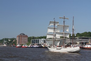 Sailing ship on the Elbe, Hamburg, Germany