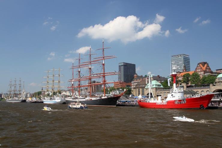 Sailing ship on the Elbe, Hamburg, Germany