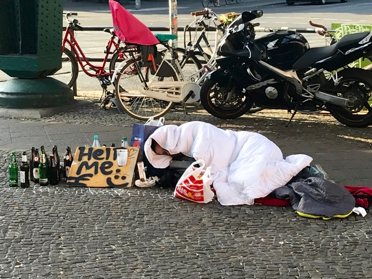 Homeless in trendy Prenzlauerberg, Berlin