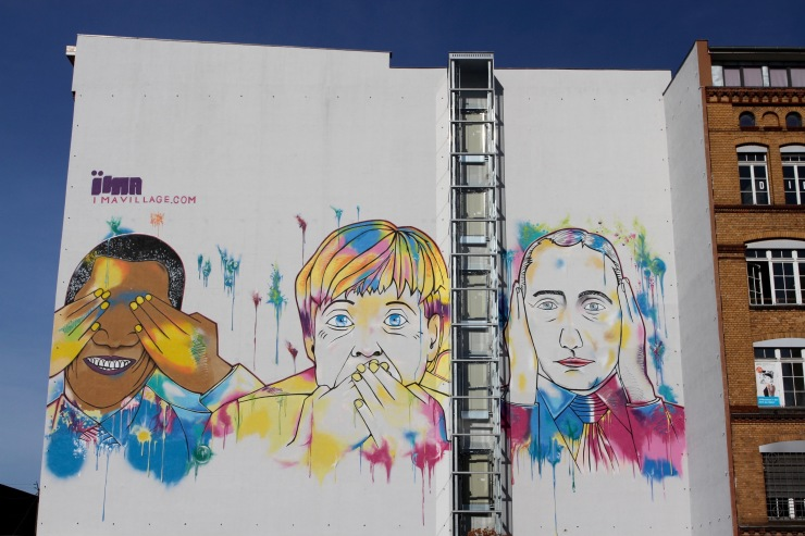 See no evil, Speak no evil and Hear no evil, street art, Berlin, Germany