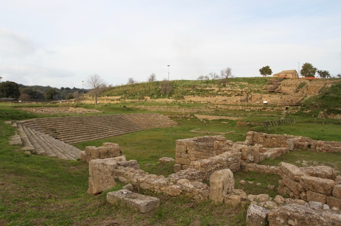 Marketplace, Ancient Greek city of Morgantina, Sicily, Italy