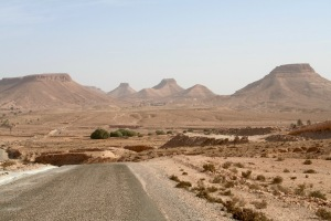 The route to Douiret, Tataouine, Tunisia