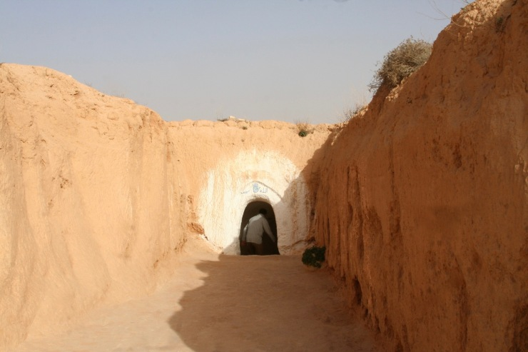 Entrance to troglodyte dwelling near Matmata, Tunisia