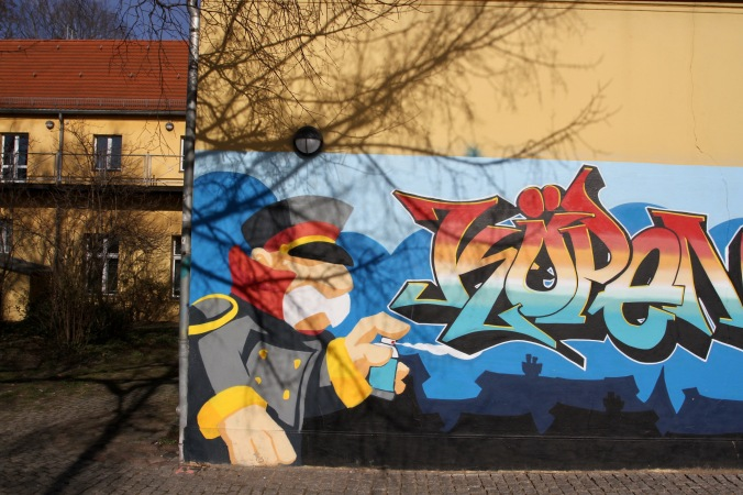 Captain of Köpenick street art, Berlin, Germany