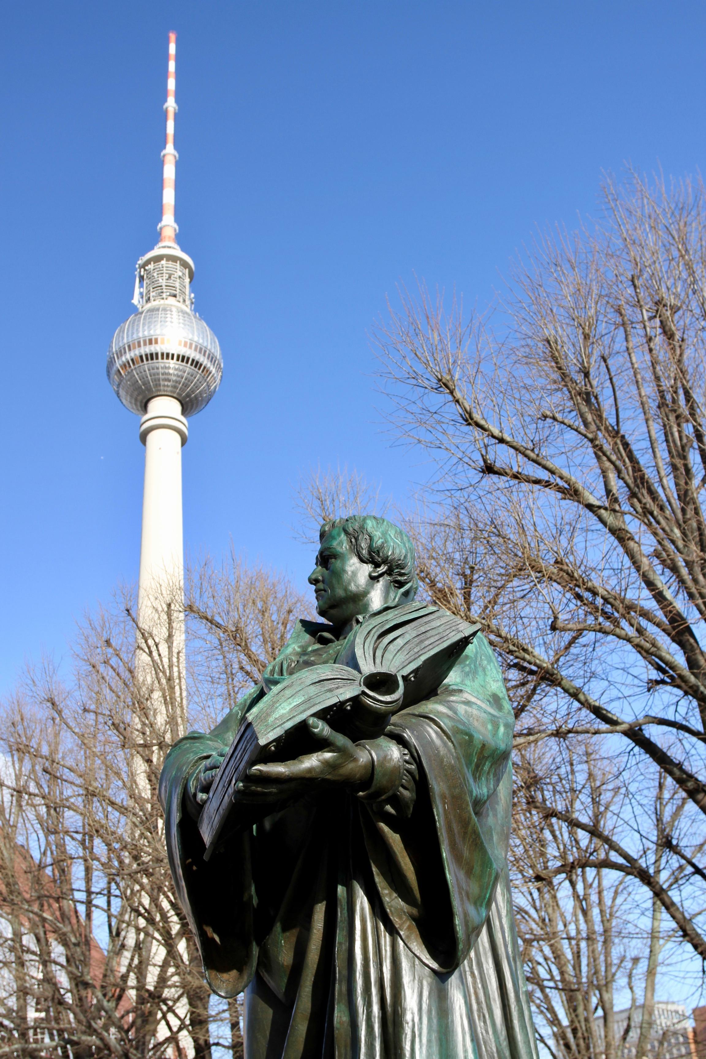 Martin Luther statue in Alexanderplatz, Berlin, Germany
