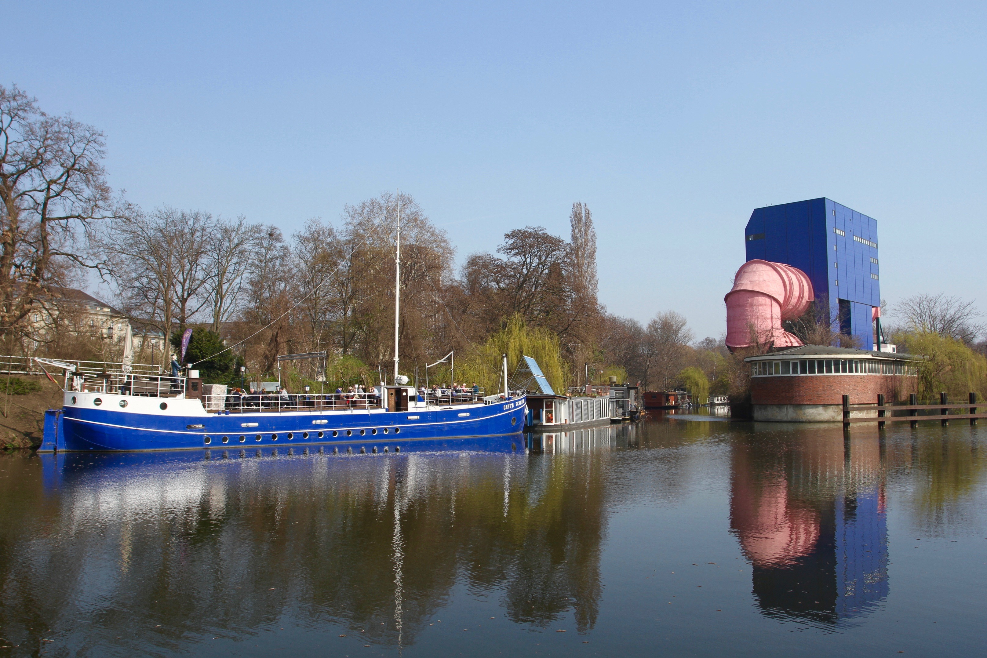 Landwehr Canal and weird water circulation pipe, Berlin, Germany