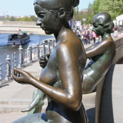 Three Girls One Boy Statue, River Spree, Berlin