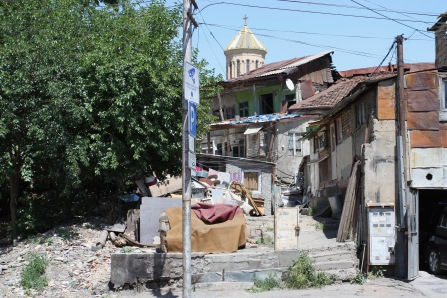 Traditional housing, and Trinity Cathedral Tbilisi, Georgia