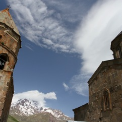 Gergeti Trinity Church, Kazbegi region, Caucasus mountains, Georgia