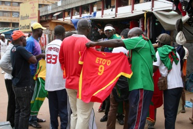 Buying football shirts, Yaounde, Cameroon