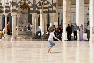 A child plays at the Omayad Mosque, Damascus, Syria