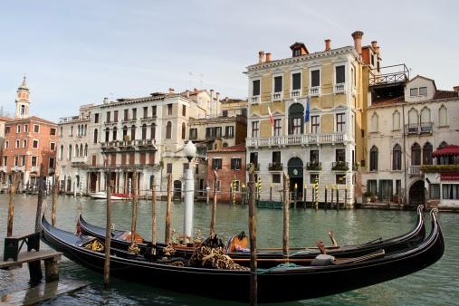 Gondolas on the Grand Canal, Venice, Italy