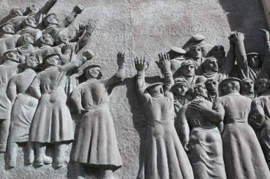Communist mural, former State Council Building, Mitte, Berlin, Germany