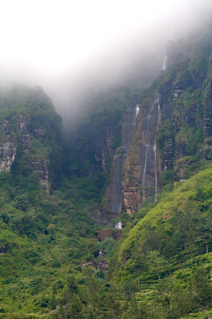 Waterfall and low cloud, Nuwara Eliya, Sri Lanka